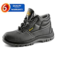 SAFETOE S3 Steel Toe Safety Boots [CE Quality Certified] - 8010 Water Resistant Leather Worksite PPE Safety Work Shoes Boots with Steel Toe Capped Black