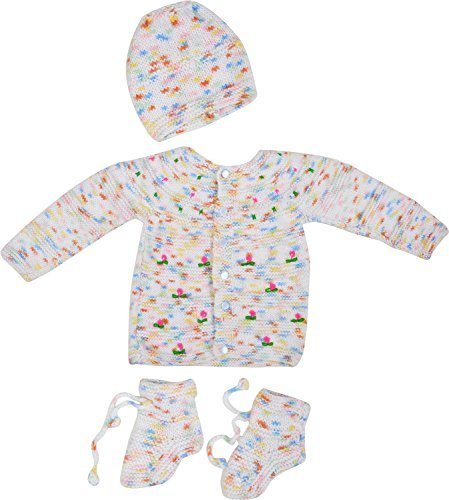 Kuchipoo Hand Knitted Woolen Sweater Set for Babies 0-9 Months (KUC-MNC-619_2, Multi-Coloured, 0-9 Months)