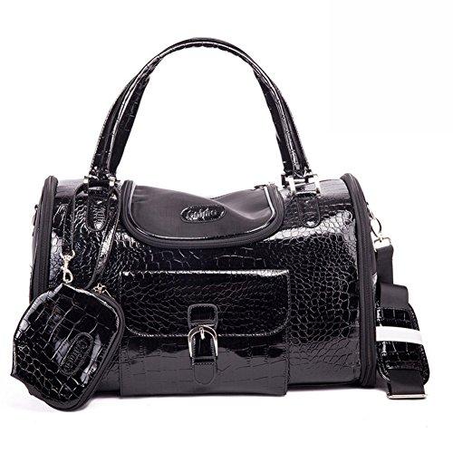 B-JOY Borsa trasportino finto coccodrillo modello cane gatto con portafoglio sportello superiore e borsa porticina laterale (S(34cm*22cm*20cm), Nero)