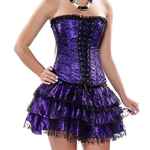 Dissa CC2162 Femme Sexy Lingerie Bustier Corset et G-string Violet,XL(38-40)