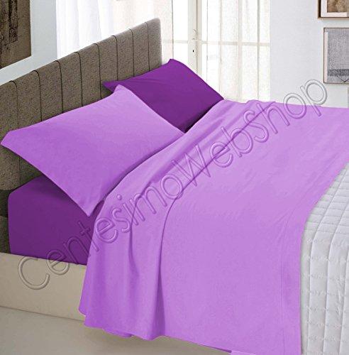Centesimo web shop completo lenzuola letto per materasso 160x190 cm prodotto in italia 100% cotone due piazze matrimoniale tinta unita bicolore lilla e prugna txt -