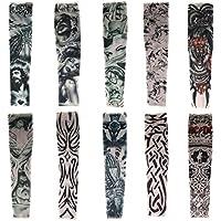 HaimoBurg Juego de 10 Mangas con Apariencia de Tatuaje temporales para Brazo (10 Piezas B)