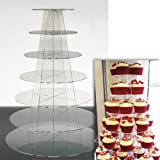 Cupcake Stand 7 TIER ROUND - Clear Acrylic Display Tower for Wedding & Party UK