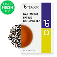 Teabox Darjeeling Oolong Tea 3.5oz (40 Cups) from India   Whole Leaf, High-Grown Red Thunder Oolong Tea (Autumn Flush Picked)   Delivered Garden Fresh Direct from Source