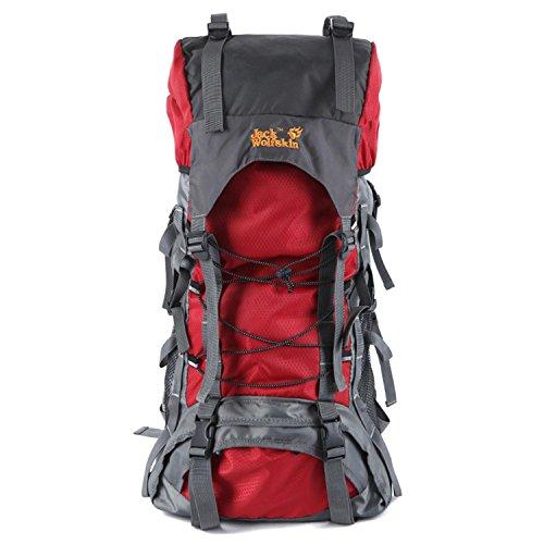 Zaini da trekking HWJDK, Outdoor 60L Borsa da montagna impermeabile Escursioni zaino da campeggio dello zaino , black Red