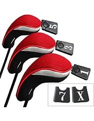 Andux 3pcs Driver couvre capuchon pour bois club interchangeables NO. tag MT/mg01 Noir/Rouge