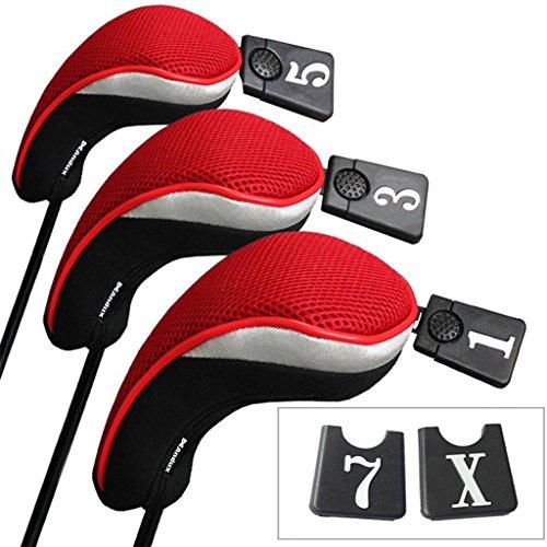 Andux 3 Packung golf holz Schlägerkopfhüllen Eisen hauben austauschbar Nr. Etikett MT/mg01 schwarz /rot
