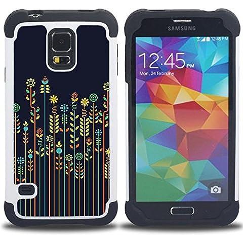 SAMSUNG Galaxy S5 V / i9600 / SM-G900 - 3 en 1 impreso colorido de Altas Prestaciones PC Funda chaqueta Negro cubierta gel silicona suave (Rye Cultivos Agricultura floral minimalista azul
