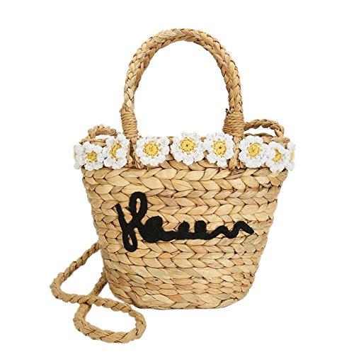 Bolsa ratán bolsa de playa redondo Mujer Paja Flor Verano Diseño de hierba de imitación retro bolsa de playa viaje vacaciones ideal regalo para mujer niña–fancylande