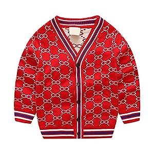 huateng Kinder Mercerized Cotton Cardigan Sweater, Boy Casual Streifen Pullover für Frühling und Herbst