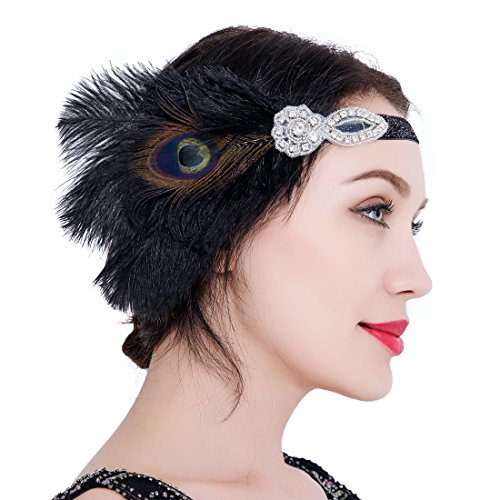 (1920er Flapper Stirnband Pfauen Feder Great Gatsby Kopfschmuck Vintage Art Deco Accessoires für Prom Kostüm Party)