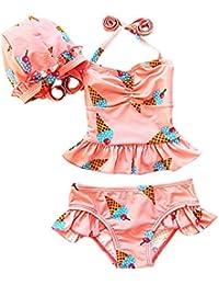 Moollyfox Conjunto Infantil de Bañador (3 Piezas) Bikini Traje de Baño de Dos Piezas Tankini con Gorro para Niñas Niñitas 2 - 7 Años