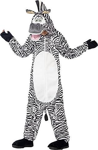 Smiffys, Kinder Unisex Marty das Zebra Kostüm, All-in-One mit gepolstertem Kopf, Madagascar, Größe: M,