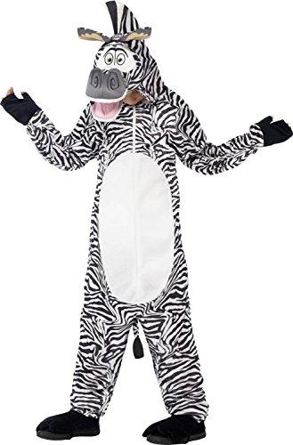 Smiffys, Kinder Unisex Marty das Zebra Kostüm, All-in-One mit gepolstertem Kopf, Madagascar, Größe: M, (Jungen 9 Jahre Alten Halloween Kostüm Ideen)