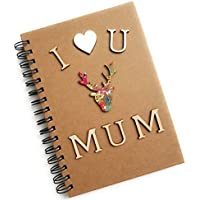 I Love You Mum Rustic Lined Notebook A5 Spiral Bound, Hardcover Christmas Mother's Day Gift for Her