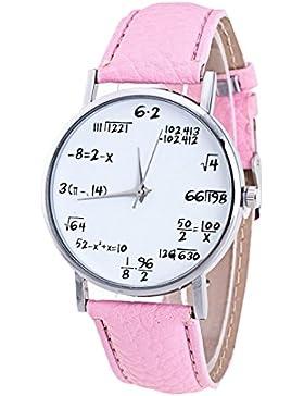 Männliche und weibliche Uhren, Kingwo Mode Mädchen Armbanduhren Muster Lederband Analog Quartz Vogue Uhren (Rosa)