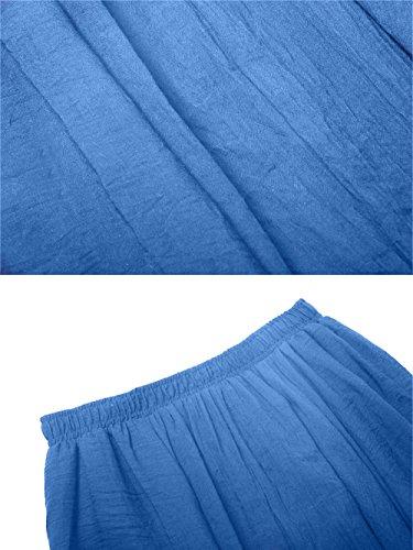 Sankill Frauen Baumwolle Leinen Lange Maxi Rock böhmischen Stil Elastische Taille Band Blau