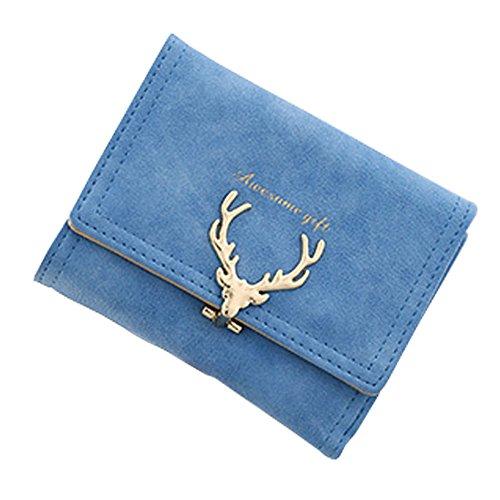 Portafoglio di cuoio di cuoio dell'unità di elaborazione mini magica della mini donna, borsa del supporto chiave (LightBlue) Azzurro