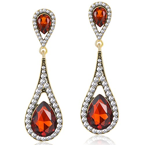 ArDeco Damen Flapper Ohrringe 1920s Retro Stil Dangle Ohrringe Inspiriert von Great Gatsby Damen Kostüm Accessoires (Stil 4-Orange) (Girl Flapper Kostüm Gatsby)