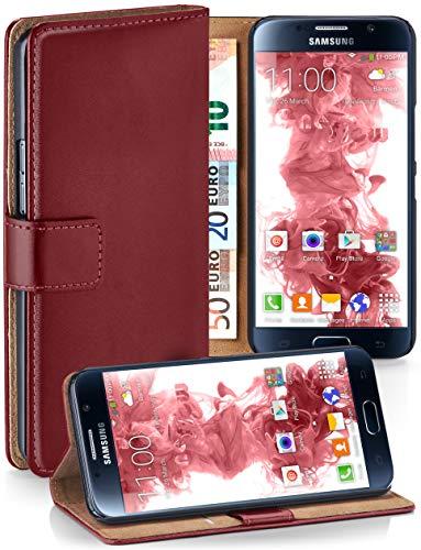 MoEx® Booklet mit Flip Funktion [360 Grad Voll-Schutz] für Samsung Galaxy S6 | Geldfach und Kartenfach + Stand-Funktion und Magnet-Verschluss, Dunkel-Rot