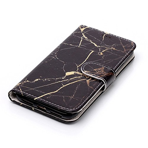inShang Hülle für iPhone X 5.8 inch mit integriertem Brieftaschen-Design, iPhoneX 5.8inch cover case mit Standfunktion. + inShang Logo hochwertigen Stylus Eingabestift Stift Black marble