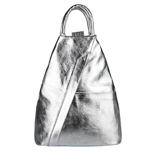 OBC Made in Italy Damen echt Leder Rucksack Lederrucksack Metallic Tasche Schultertasche Ledertasche Handtasche Nappaleder (Silber)