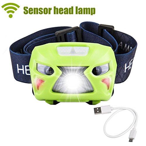ZIUMIER LED Stirnlampe USB Wiederaufladbare Kopflampe,70 Gramm, 6 Modi, Wasserdicht, Leicht, Bewegungssensor, Cree White Headlight mit RotLicht, Perfekt fürs Sport,Laufen,Joggen, Radfahren, Kinder (Green)