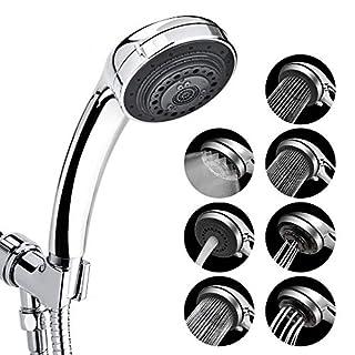 AUSHEN Shower Head High Pressure 7 Spray Settings Stainless Steel Bathroom Handheld Shower and Teflon Tape Chrome Plated Shower Head (Show Head)