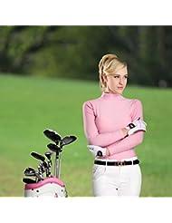 PGM mujeres de manga larga para Polo para mujer (ajustado ---- Meryl, Gran elasticidad, protección UV, color rosa, tamaño small