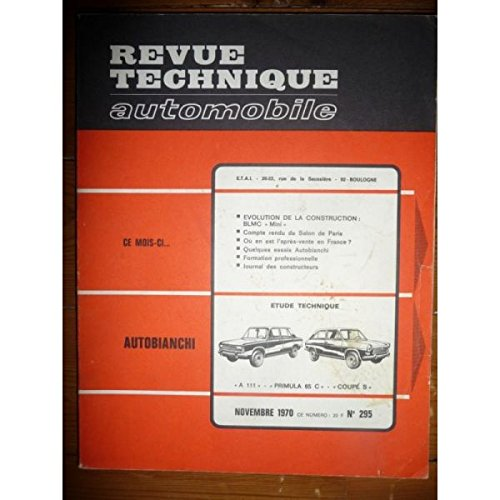 RTA0295 - REVUE TECHNIQUE AUTOMOBILE AUTOBIANCHI A111 - PRIMULA 65 C - COUPE S