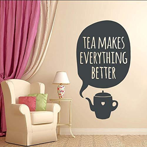 yiyiyaya Wandtattoo Vinyl Kranker Tee Macht Alles Besser Tasse Wandkunst Design Room Home Schlafzimmer Wohnzimmer Küche Haus Dekor 97x53cm