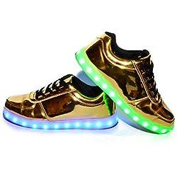 Envio 24 Horas Usay like Zapatillas LED Con 7 Colores Luces Carga USB Dorado Hombre Mujer Unisex Talla 35 hasta 46 Envio Desde España (EU37)