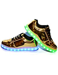 Usay like Envio 24 Horas Zapatillas LED con 7 Colores Luces Carga USB Dorado Hombre Mujer Unisex Talla 36 Hasta 45 Envio Desde España