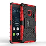 Coque Huawei P9 Lite, J&D [Kickstand] [Double Couche] Hybrid Shock Proof Stand Etui de Protection pour Huawei P9 Lite - Rouge