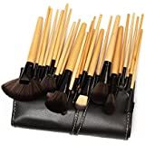 Everbuy ™ Professional 24 Piece All Natural Real Hair Makeup Brush Set - Handle Pcs Cosmetic Beauty Brushes Kit...