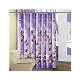 AnazoZ Duschvorhang Wasserdicht, Anti Schimmel, Umweltfreundlich Waschbar mit 12 Duschvorhangringen Blume Lila Badezimmer Vorhang für Badewanne 240 x 200 cm