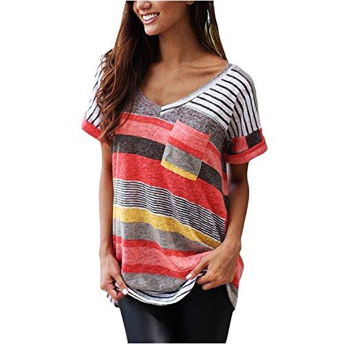Liqy Women Colourful Striped Summer Short Sleeve V-Neck Blouse Tops Shirt,Striped Short Sleeves