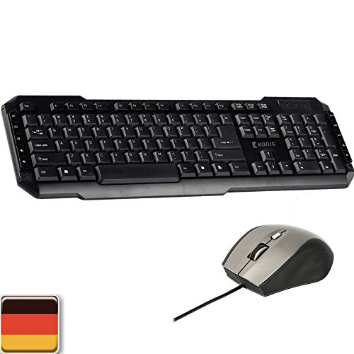 Eurosell Gaming Tastatur Qwertz Deutsch + 5 Tasten Maus USB Gamer PC Computer Design Wired verkabelt