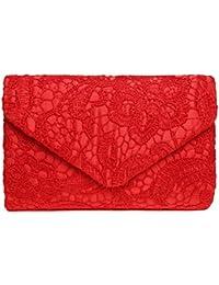 Sumaju - Bolso de mano clutch con detalles de encaje y florales para mujer. Bolsos