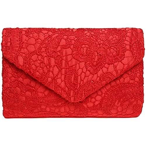 Sumaju - Bolso de mano clutch con detalles de encaje y florales para mujer.  Bolsos ce513c31cd58