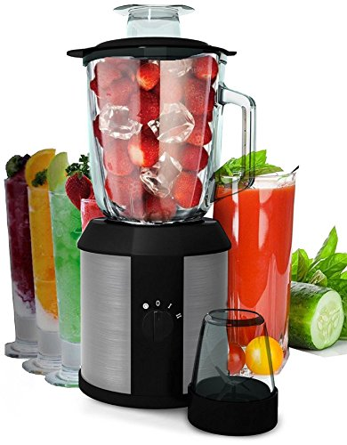 2in1 1.500 Watt Hochleistungs Glas Edelstahl Standmixer Smoothie Maker Universal Küchen Mixer Shaker Impulse Funktion Ice-Crusher Inklusive Zerkleinerer Kaffeemühle (2in1)