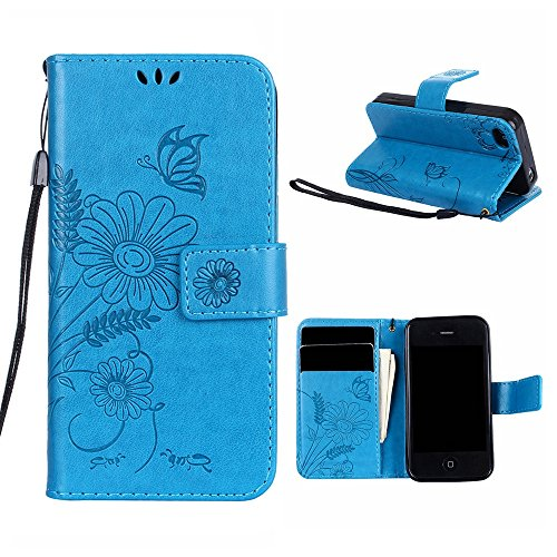 "MOONCASE iPhone 4/iPhone 4s Coque, [Embossed Pattern] PU Cuir Flip Portefeuille Housse pour iPhone 4/iPhone 4s 3.5"" Durable Armure Anti-choc Protection Etui Case Lavande Bleu"