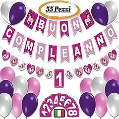 Idea Regalo - Addobbi Festa Rosa e Blu Scritta Buon Compleanno Festoni Compleanno Decorazioni Compleanno Bambina Bambini da 1 Anno a 8 Anni Festone Unicorno Bandierine Palloncini Set Happy Birthday