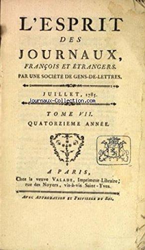 ESPRIT DES JOURNAUX (L') du 01/07/1785