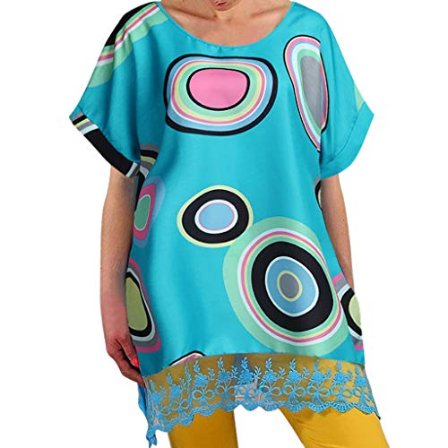 AZZRA Damen Boho Sommer Drucke Kurze Ärmel Kleid Strand Maxi-Kleid Lange Kleider V-Ausschnitt Sommerkleider Kurzarm Wickelkleid Maxikleid Strandkleid