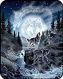 YISUMEI Manta de techos suavemente franela suave manta colcha Luna lobo, poliéster, Weiß, 150...