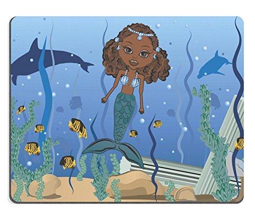 Jun XT Gaming Mousepad Mandy ist eine Fun Charakter Illustration Einer afrikanischen American Meerjungfrau in the Ocean Sie hat unverwechselbaren und schönen großen braune Augen Bild