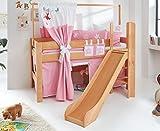 Hochbett LEO Kinderbett mit Rutsche Spielbett Bett Natur geölt Stoffset Prinzessin