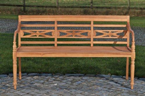 CLP Teak-Holz Gartenbank MARYLAND V2, massiv, wetterfest, bis zu 3 Größen wählbar, wird teilmontiert angeliefert 120×54 cm - 2