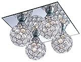 Deckenleuchte Metall Spiegel Kugel Metallgeflecht-Kugel Deckenlampe Acrylkristalle Globo 56633-4P
